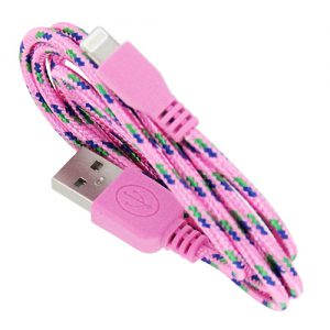 Braided 3' Cable- 8 pin PINK
