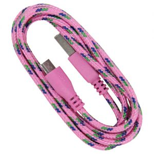 Braided 3' Cable- Micro PINK