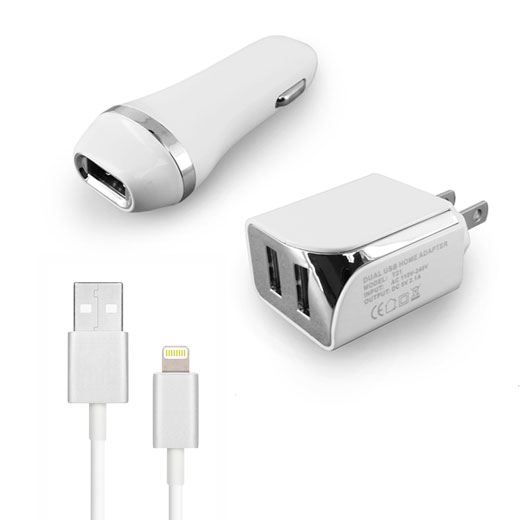 3-in-1 8pin 5ft Cable 2.1A- WHITE