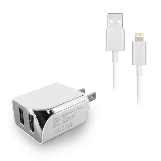 Dual USB Home Charger with 8 pin 5ft Cable 2.1A- WHITE