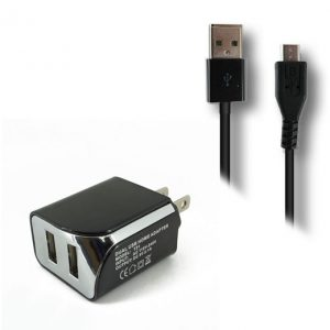 Dual USB Home Charger with Micro 5ft Cable 2.1A- BLACK
