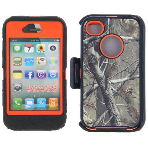 Heavy Duty Camo Case Belt Clip Holster iP 4/4s - Orange
