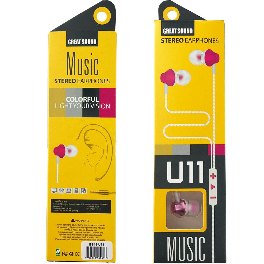 3.5mm Stereo Headset U11 Braided Wire